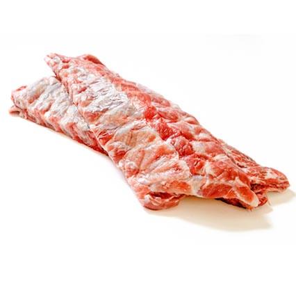Raw pork ribs on a white background